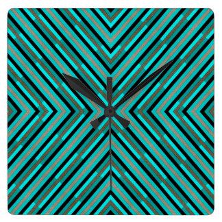 Modern Diagonal Checkered Shades of Green Pattern Square Wall Clock