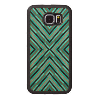 Modern Diagonal Checkered Shades of Green Pattern Wood Phone Case