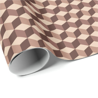 Modern Diamond Grid, Taupe, Brown and Beige Wrapping Paper