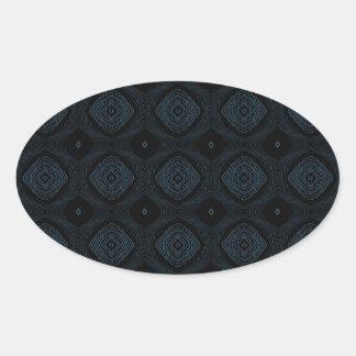 Modern Diamond Pattern Black Blue Oval Stickers