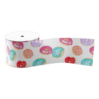 Modern donuts watercolor hand painted food pattern grosgrain ribbon