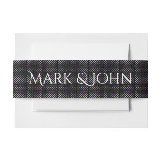 Modern dot pattern black and color invitation band invitation belly band