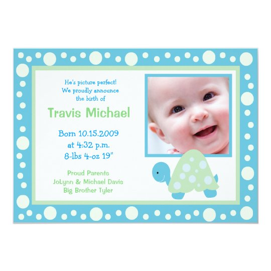 MODERN DOT TURTLE Baby Photo birth Announcement
