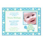 MODERN DOT TURTLE Baby Photo birth Announcement 13 Cm X 18 Cm Invitation Card