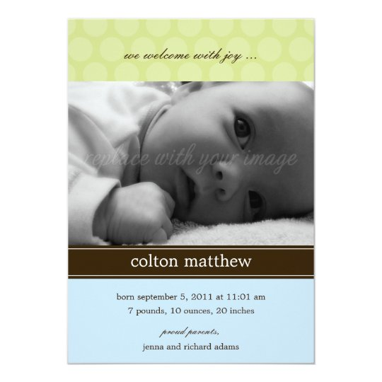 Modern Dots Birth Announcement - Blue
