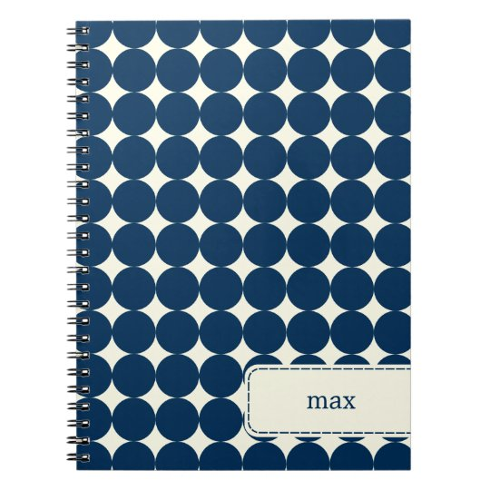Modern Dots Personalised Notebook - Navy