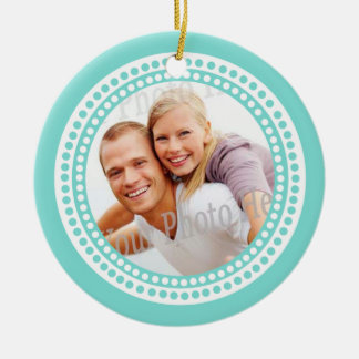 Modern Dots Photo Frame Aqua Christmas Tree Ornament