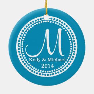 Modern Dots Photo Frame Blue Christmas Tree Ornaments