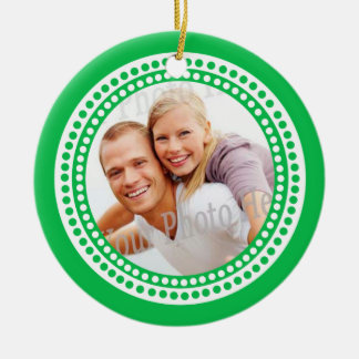 Modern Dots Photo Frame Green Ornaments