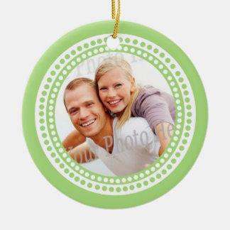 Modern Dots Photo Frame Lime Christmas Tree Ornament