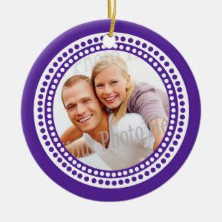 Modern Dots Photo Frame Purple Ornament
