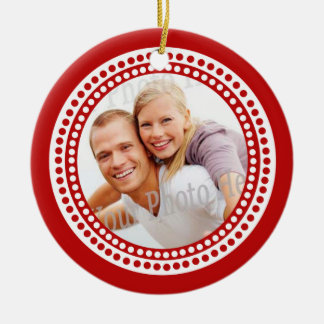 Modern Dots Photo Frame Red Christmas Ornament