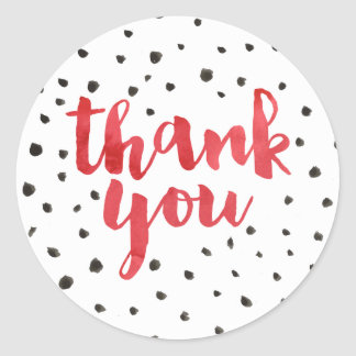 Modern Dots Red Watercolor Thank You Stickers