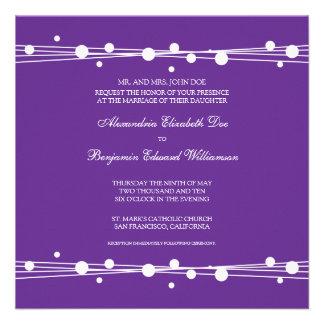 Modern Dots & Straw Wedding Invitation (purple)