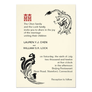 Modern Dragon-Phoenix Chinese Wedding Invitation