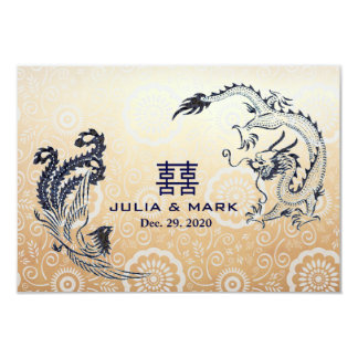 Modern Dragon-Phoenix Chinese Wedding RSVP 9 Cm X 13 Cm Invitation Card