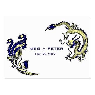 Modern Dragon-Phoenix Chinese Wedding RSVP Business Card Templates