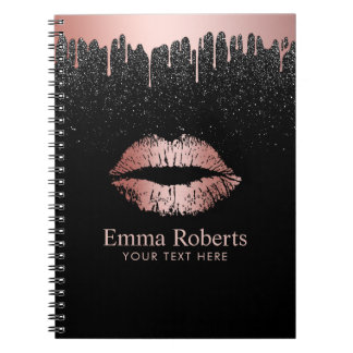 Modern Dripping Rose Gold Lips Black Glitter Notebooks