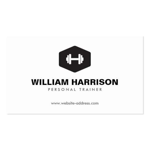 MODERN DUMBBELL LOGO FOR PERSONAL TRAINER, FITNESS BUSINESS CARD TEMPLATE