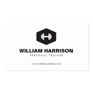MODERN DUMBBELL LOGO FOR PERSONAL TRAINER FITNESS BUSINESS CARD TEMPLATE
