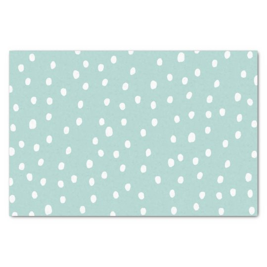 Modern dusty blue white handdrawn polka dots tissue