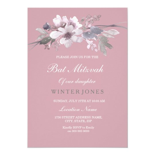 Modern Dusty Pink Floral Bat Mitzvah Invitation