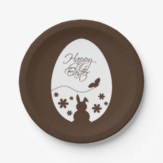 Modern Easter Egg Brown - Paper Plate