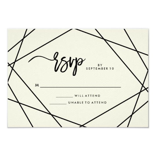 Modern Ecru and Black Geometric Wedding RSVP Card