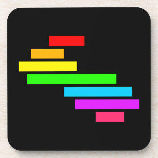 Modern Edgy Colorful Block Brick Rainbow On Black Coaster