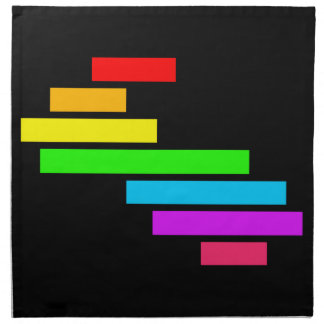 Modern Edgy Colorful Block Brick Rainbow On Black Napkin