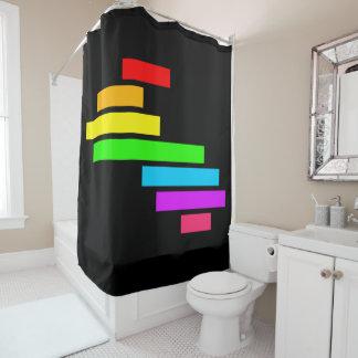 Modern Edgy Colorful Block Brick Rainbow On Black Shower Curtain