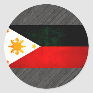 Modern Edgy Filipino Flag Round Stickers