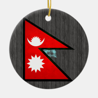 Modern Edgy Nepalese Flag Christmas Ornaments
