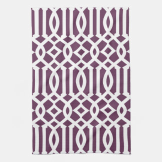Modern Eggplant Purple and White Trellis Pattern Tea Towel