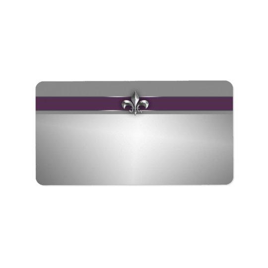 Modern Eggplant Purple Silver Fleur de Lis Label