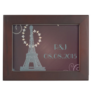 modern eiffel tower vintage paris wedding memory boxes