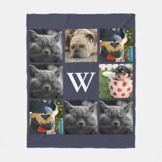 Modern Eight Family Photo Family Initial Letter Fleece Blanket