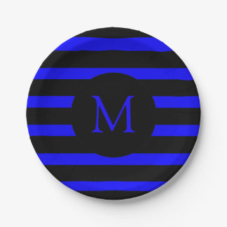 Modern Electric Blue and Black Stripes Monogram 7 Inch Paper Plate