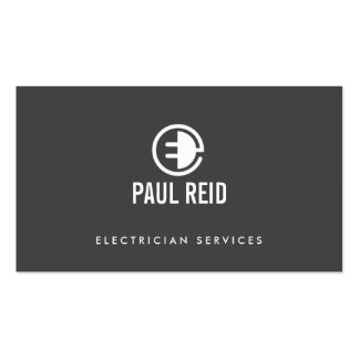 Modern Electrician Logo Gray Pack Of Standard Business Cards