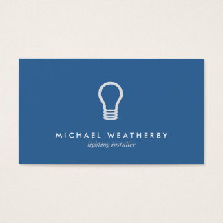 MODERN ELECTRICIAN LOGO LIGHTBULB on BLUE Business Card