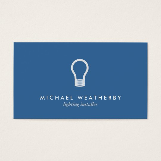 MODERN ELECTRICIAN LOGO LIGHTBULB on BLUE Business Card