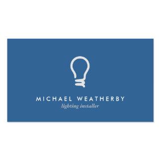 MODERN ELECTRICIAN LOGO LIGHTBULB on BLUE Business Cards