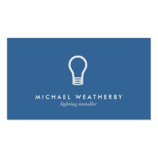 MODERN ELECTRICIAN LOGO LIGHTBULB on BLUE Pack Of Standard Business Cards