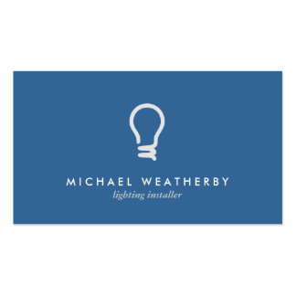MODERN ELECTRICIAN LOGO LIGHTBULB on BLUE Pack Of Standard Business Cards