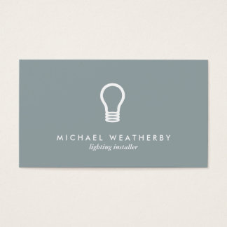 MODERN ELECTRICIAN LOGO LIGHTBULB on SLATE GRAY Business Card
