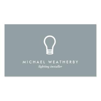MODERN ELECTRICIAN LOGO LIGHTBULB on SLATE GRAY Pack Of Standard Business Cards