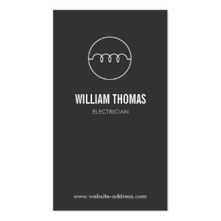 MODERN ELECTRICIAN LOGO on DK GRAY Business Card Template