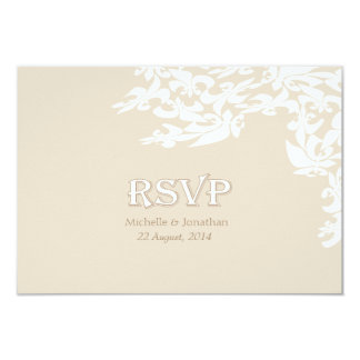 Modern Elegance Ecru Fleur de Lis RSVP Card