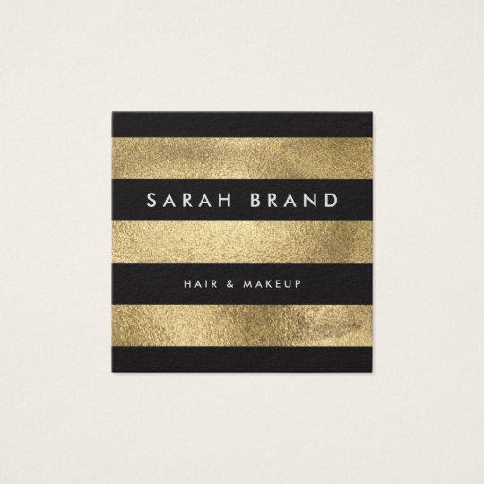 Modern Elegant Black and Faux Gold Foil Stripes
