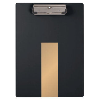 Modern Elegant Black Faux Gold Stripe Monogram Clipboards
